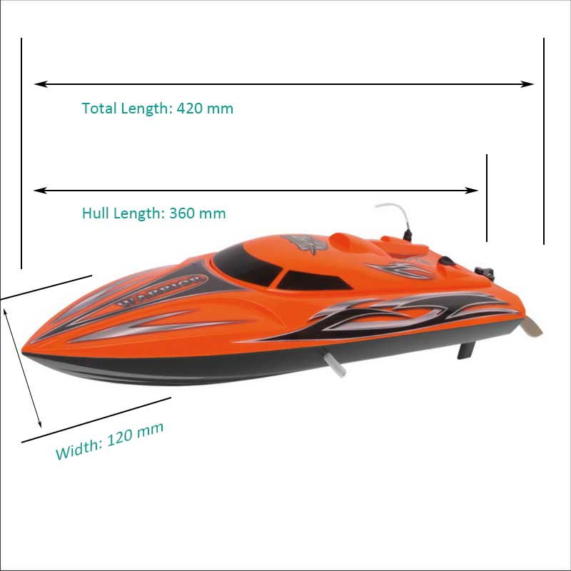 Sizes Display of Small RTR RC Speed Boat Kits Warrior 8206