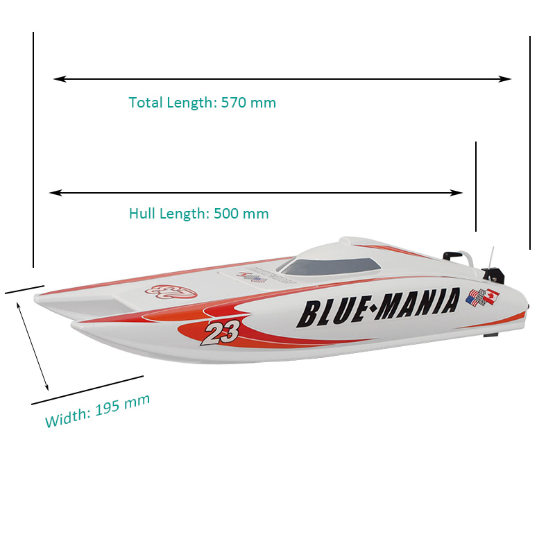 Sizes Display of Electric ARTR Catamaran Speed Boat for Sale Blue Mania 8602