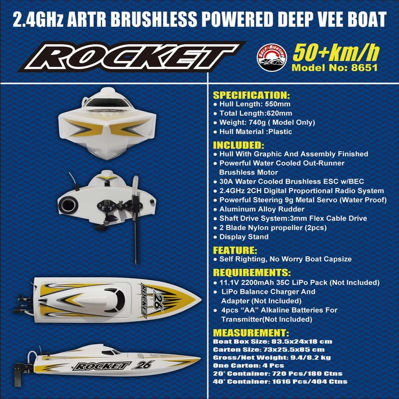 Detailed Description of High Speed ARTR Brushless Speed Boat Rocket 8651