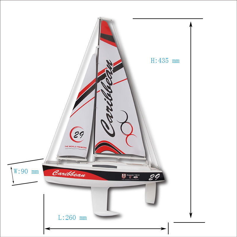 Size of Micro Toy RC Sailing Yacht kit for Kids Joysway Caribbean 8802