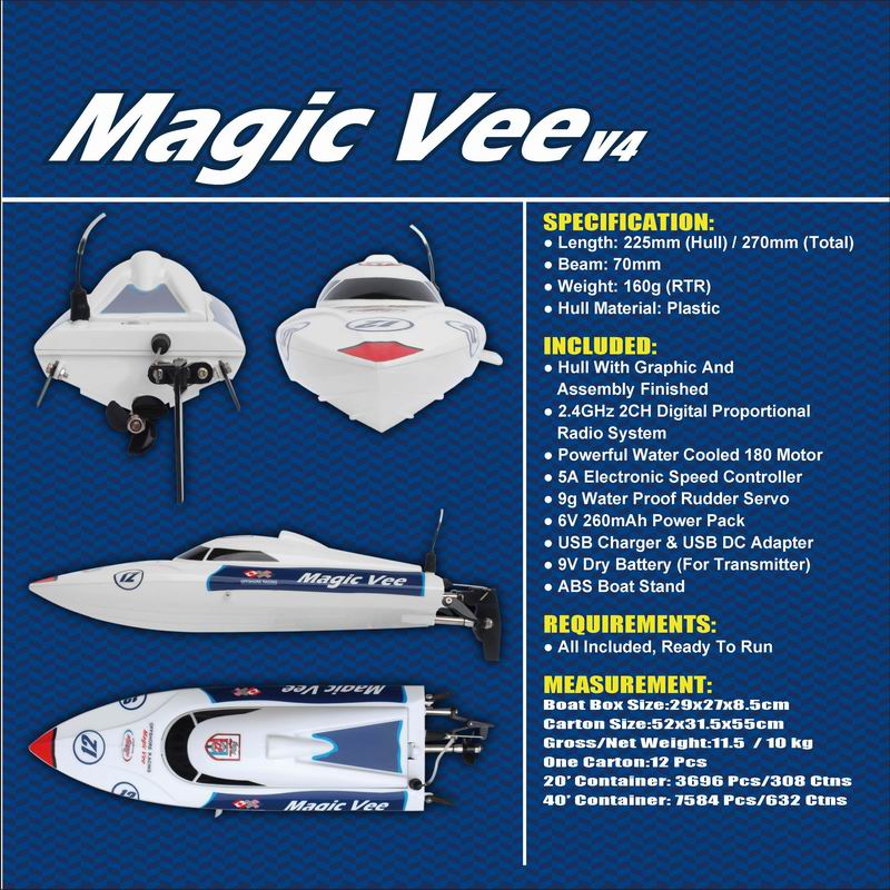 Details Descriptions of Little Remote Control Speed Boat Magic Vee 8106
