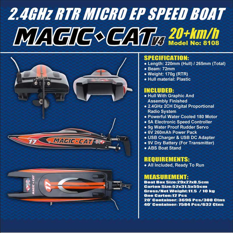 Details Descriptions of Tiny Micro RTR RC Speed Boat Magic Cat 8108
