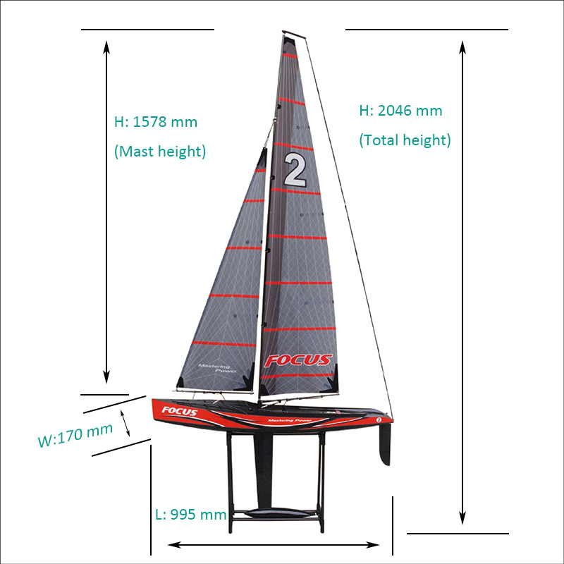Size of Gaint RTR Good Racing Radio Control Sailing Yacht for Adults Focus2