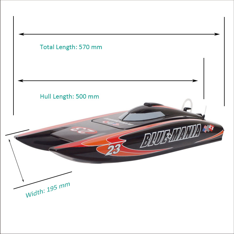 Size Display of Hobby ARTR Brushless Power Catamaran Speed Boat Blue Mania 8652