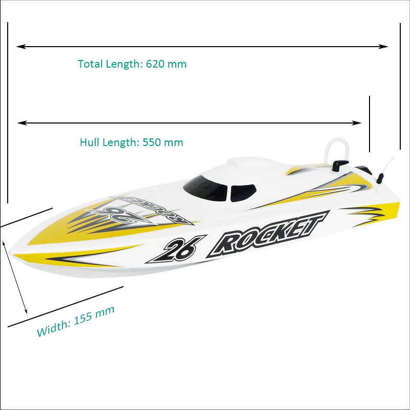 Sizes Display of High Speed ARTR Brushless Speed Boat Rocket 8651