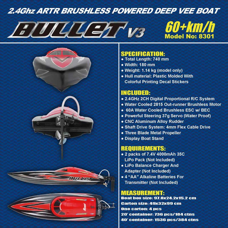Details Description of Big Brushless Power Speed Boat for Sale Bullet 8301