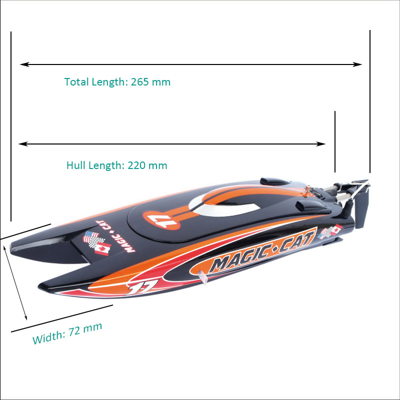 Size Display of Tiny Micro RTR RC Speed Boat Magic Cat 8108