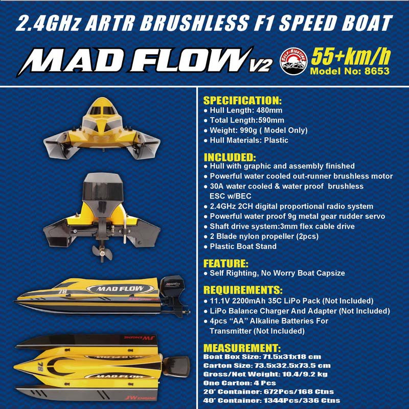 Details Description of New ARTR Brushless F1 Power Speed Boat Mad Flow 8653