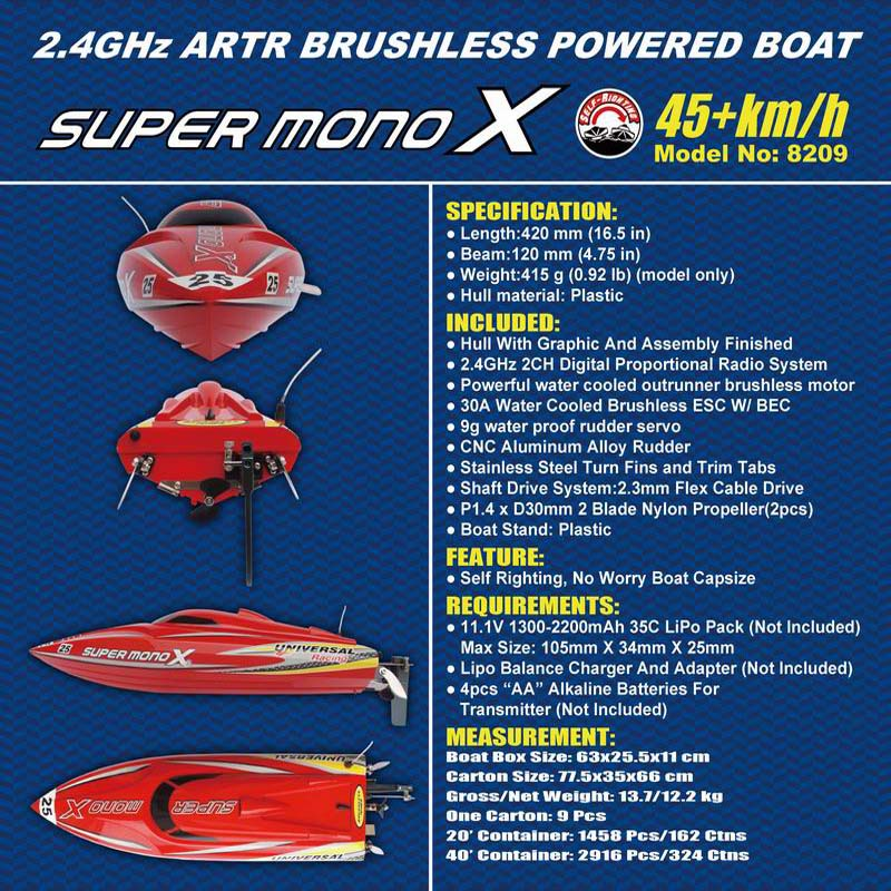 Deitals Description of of ARTR Brushless Fast Power Speed Boat for Sale Super mono X 8209