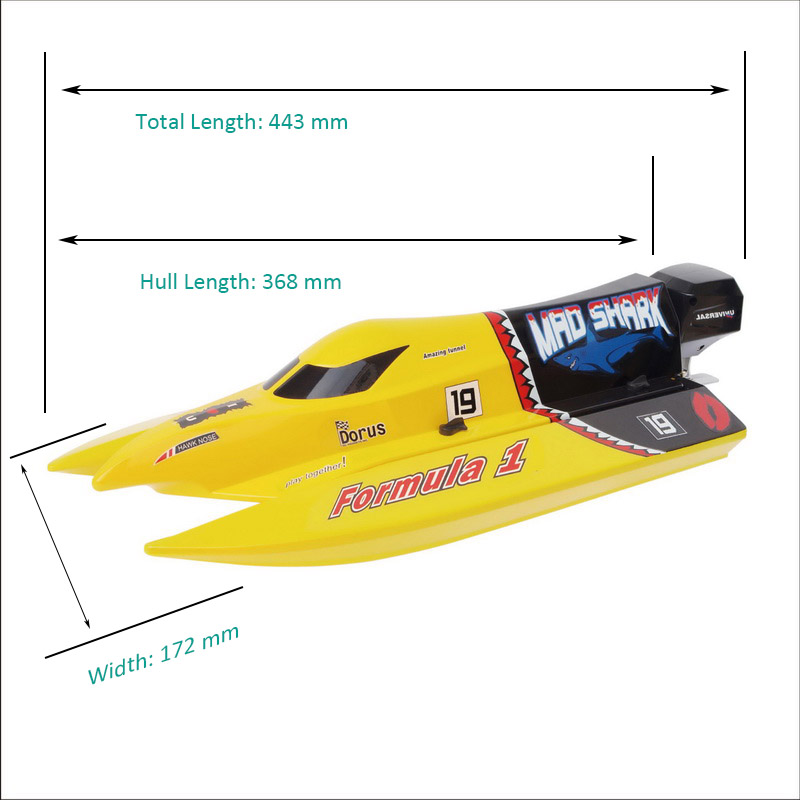Sizes of Brush Mini F1 Power Speed Boat Mad Shark 8203